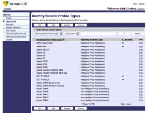 BroadSoft BroadWorks Identity/Device Profile Type